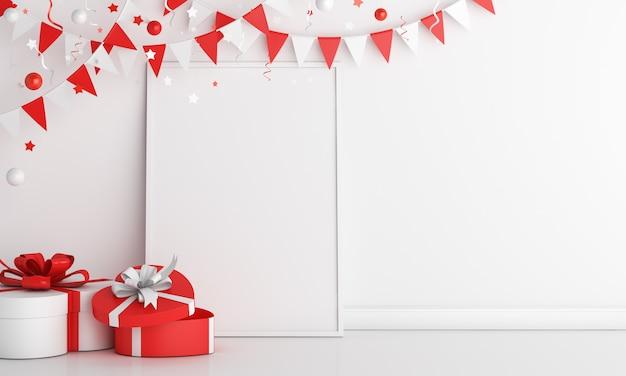 Счастливый день независимости индонезии украшение фон с пустой рамкой макет подарочной коробки гирлянды флаг