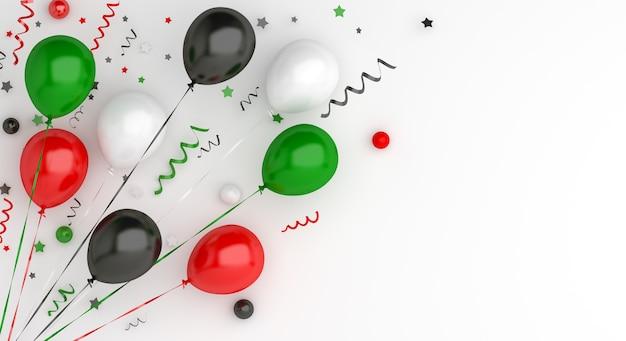 С днем независимости объединенных арабских эмиратов или кувейта украшение с воздушным шаром, копией пространства