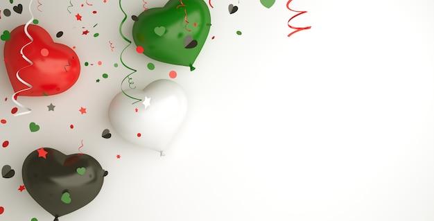 С днем независимости объединенных арабских эмиратов или кувейта украшение с воздушным шаром в форме сердца