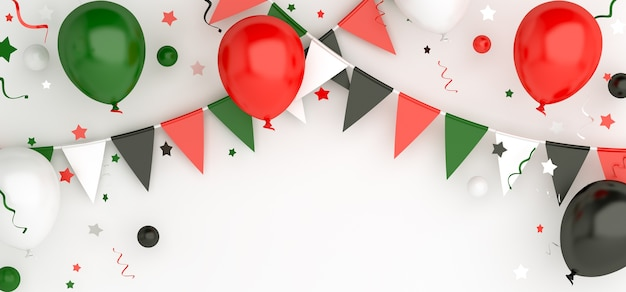 Happy independence day of united arab emirates or kuwait decoration with balloon, copy space