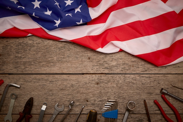 Happy independence day wooden background