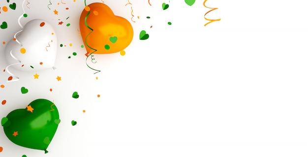 Счастливый день независимости индии украшение фон с воздушным шаром в форме сердца