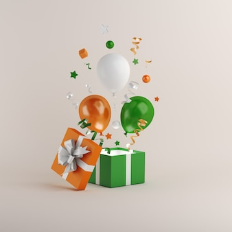 Happy indian republic day with balloon and gift box