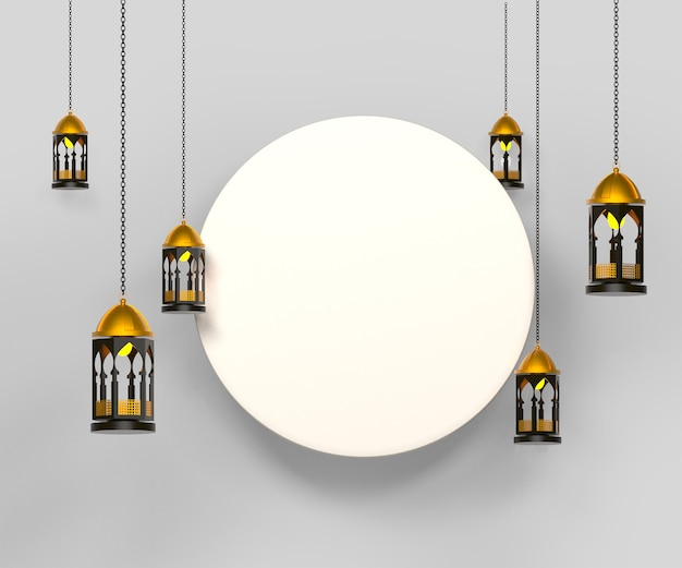 Happy islamic background with lantern