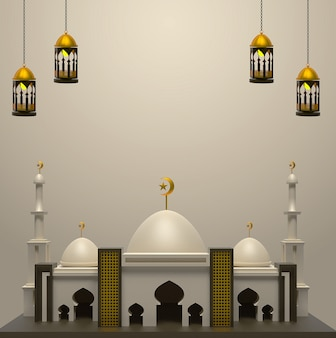 Happy islamic background with mosque
