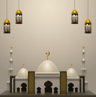 Счастливый исламский фон с мечетью