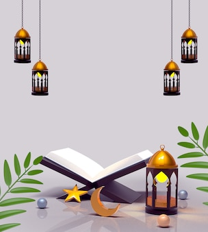 Happy islamic decoration with lantern and quran