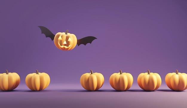 Happy jack o lantern with wings flying among pumpkins on purple color background.