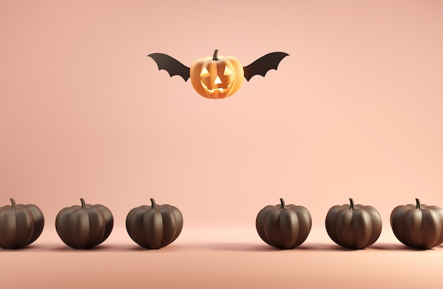 Happy jack o lantern with wings flying among pumpkins.