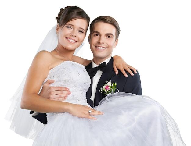 행복한 막 결혼한 젊은 부부