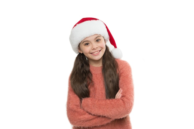Happy kid has xmas party mood. new year eve. happy new year holiday. christmas eve. xmas holiday. small santa white background. merry christmas. winter brings a lot of joy. copy space.