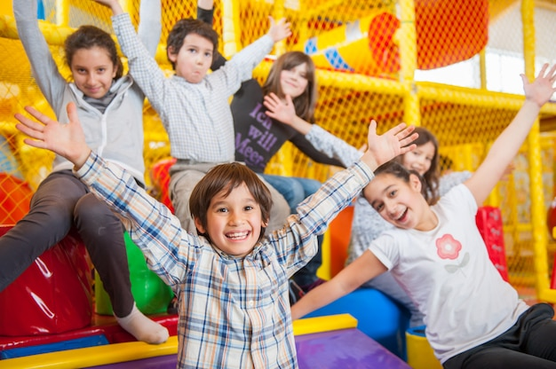 Happy kids at indoor playground