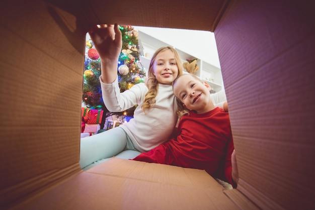 The happy kids open the box near the christmas tree