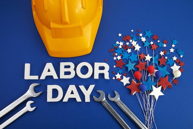 Happy labor day banner red white blue color stars and balloons on blue background