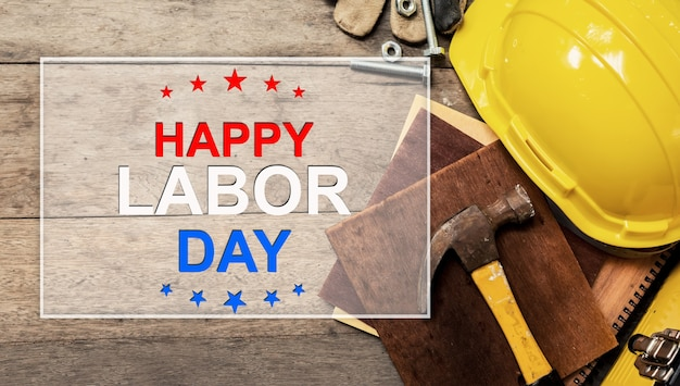 Happy labor day concept and background. engineer and worker tools. public holiday in america and usa.