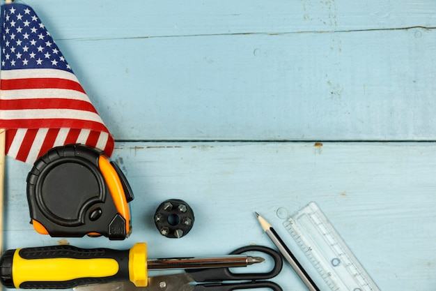 Happy labor day. construction tools. background