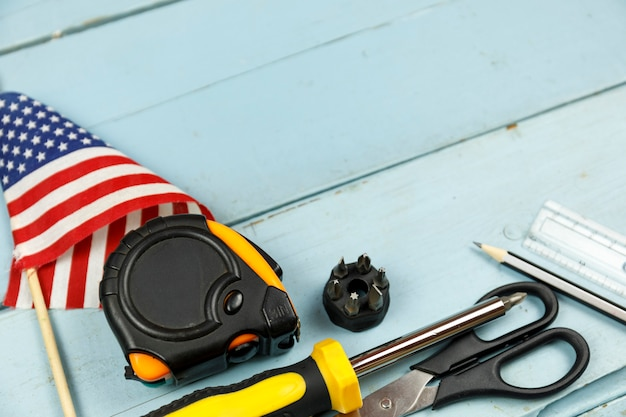 Happy labor day construction tools