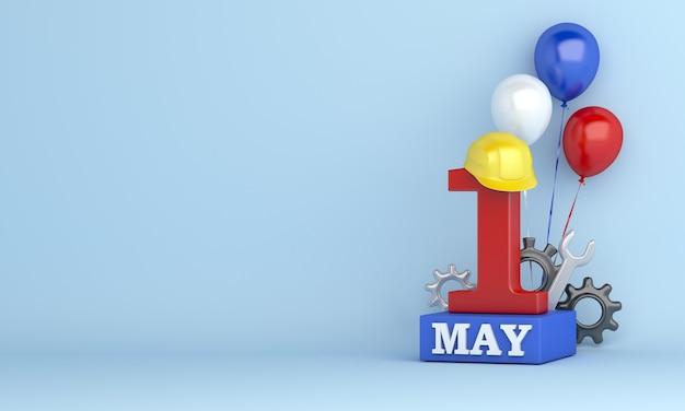 幸せな労働者の日または 5 月 1 日の装飾コピー スペース