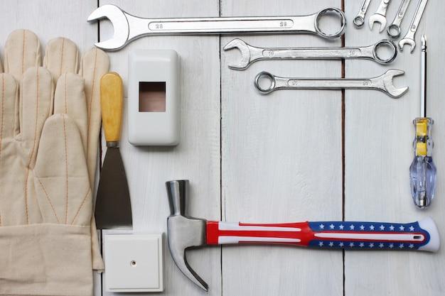 Happy labor day united states concept tool technician.
