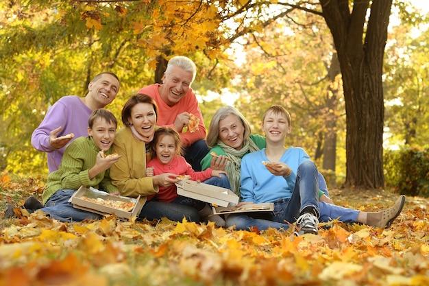 숲에서 행복한 대가족 피크닉