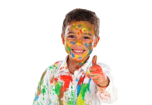 행복 한 라틴 아이 페인트 스테인드 확인을 말하는 흰색 공간에 고립