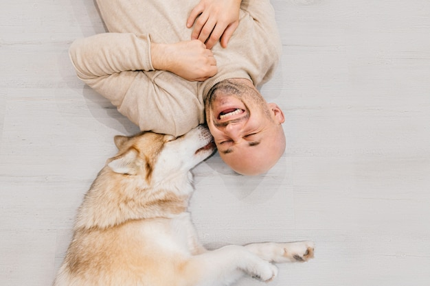 Happy laughing adult man lying on wooden floor with his lovely husky licking his ear