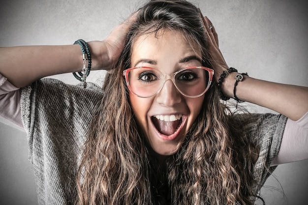 Happy laughing teen girl