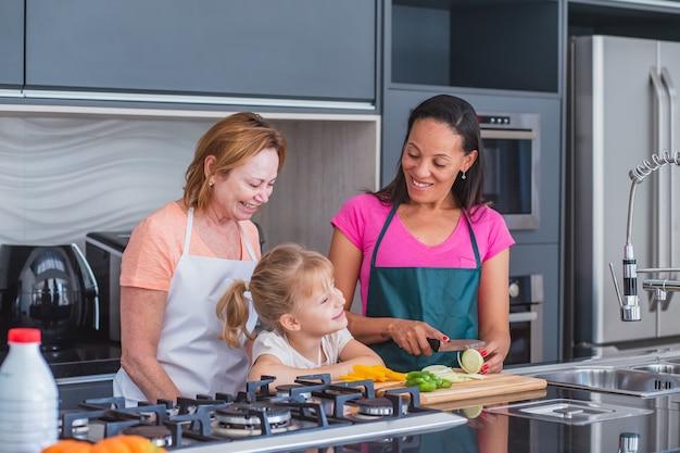 행복한 lgbt 가족 요리. 행복한 엄마와 딸이 함께