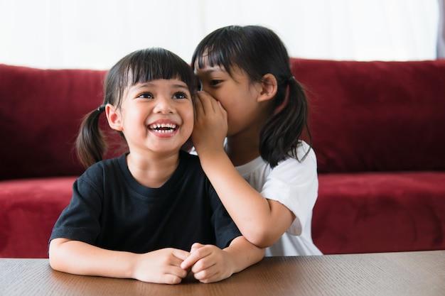 秘密を共有する幸せな小さなアジアの兄弟
