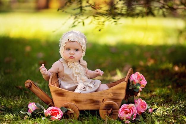 夏には屋外のバラの花が付いているカートで幸せな赤ちゃん女の子