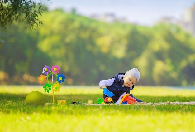 피크닉에서 장난감으로 행복 한 소년