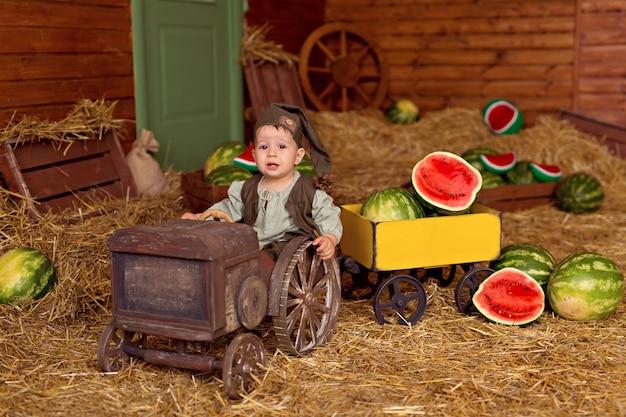スイカに囲まれた幸せな小さな子供