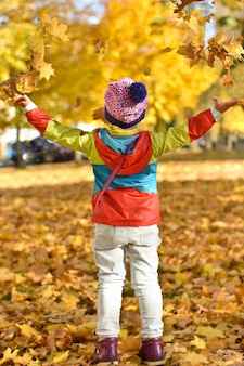 Happy little girl in bright clothes playing with leaves in a city park in the autumn