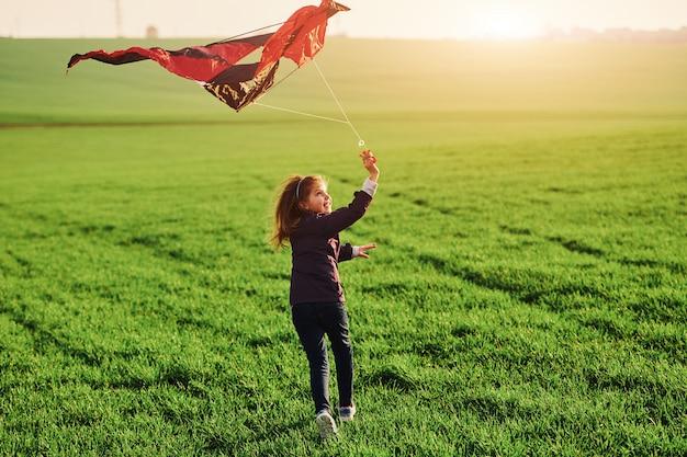 아름 다운 필드에 손에 케이트와 함께 실행하는 행복 한 어린 소녀