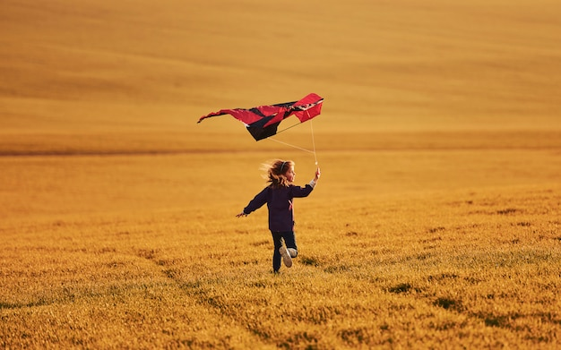 Happy little girl running with kite in hands on the beautiful field