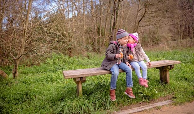 公園の木製ベンチに座ってチョコレートチップとマフィンを食べながらかわいい男の子の耳に話している幸せな少女