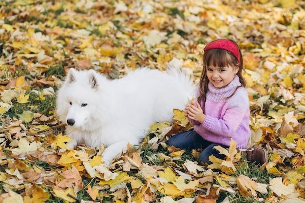 Счастливая маленькая девочка гуляет с белой самоедской собакой в осеннем парке