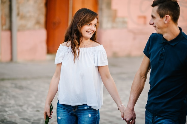 Happy loving couple enjoying in moments of happiness outdoors. love and tenderness, dating, romance. lifestyle concept.