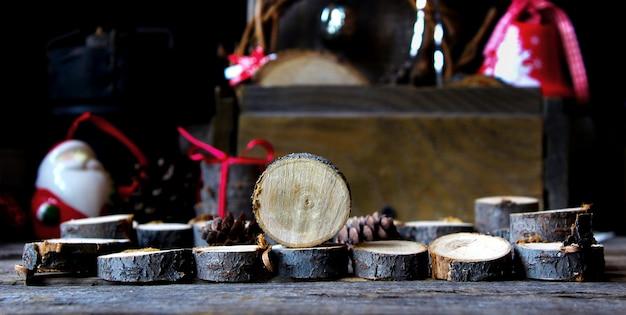 Happy magic new year wooden firewood