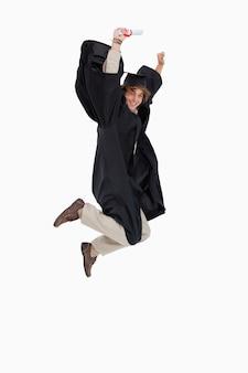 Счастливый студент-студентка в аспиранте
