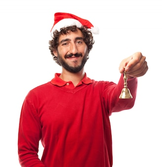 Happy man holding a handbell with his left hand