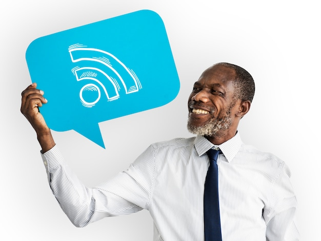 Happy man holding wifi symbol