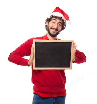 Happy man with a blackboard