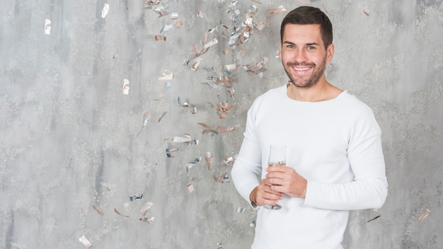 Happy man with champagne