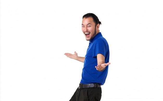 Happy man with open hand gesture