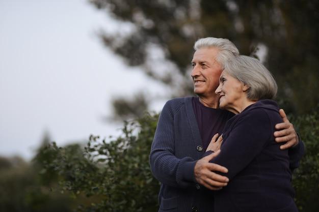 夏の日に公園で踊る幸せな成熟したカップル