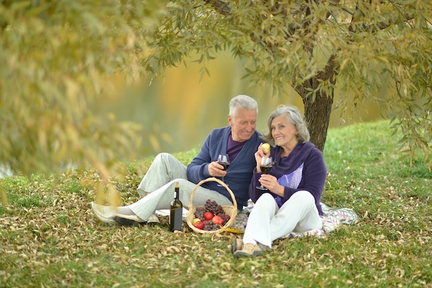 Happy mature couple having a picnic in the park in autumn