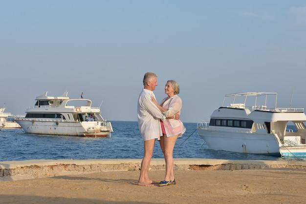 사랑에 빠진 행복한 성숙한 커플은 휴가에 신선한 공기와 멋진 전망을 즐깁니다.