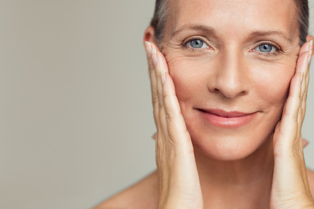 Happy mature woman aging process