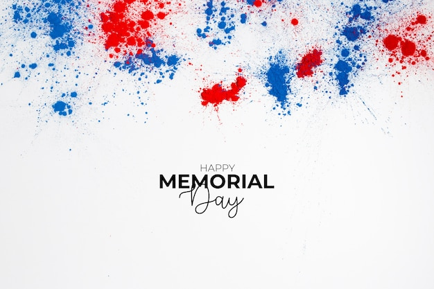 Happy memorial day background to commemorate independence day with lettering and splashes of holi color
